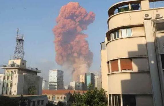 黎巴嫩首都贝鲁特的港口爆炸产生的蘑菇云